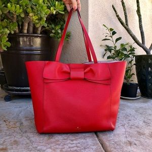 Kate Spade red leather tote bag with bow